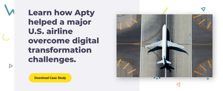 Learn how Apty helped a major U.S. airline overcome digital transformation challenges.